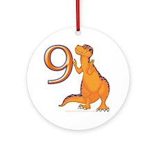 Kids Dino 9th Birthday Gifts Ornament (Round)