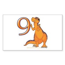 Kids Dino 9th Birthday Gifts Rectangle Decal