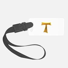Golden Franciscan Tau Cross Luggage Tag