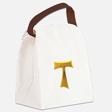 Golden Franciscan Tau Cross Canvas Lunch Bag
