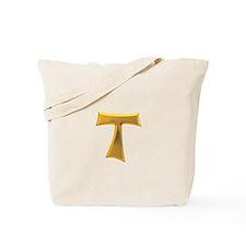 Golden Franciscan Tau Cross Tote Bag