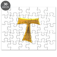 Golden Franciscan Tau Cross Puzzle