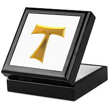 Golden Franciscan Tau Cross Keepsake Box
