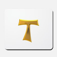 Golden Franciscan Tau Cross Mousepad