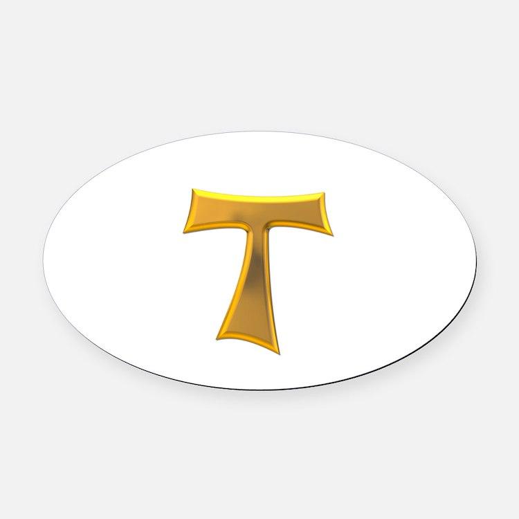 Golden Franciscan Tau Cross Oval Car Magnet
