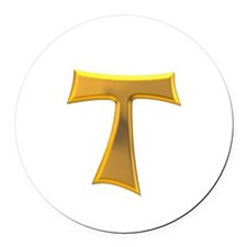 Golden Franciscan Tau Cross Round Car Magnet