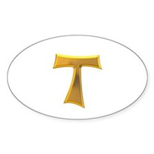Golden Franciscan Tau Cross Decal