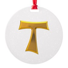 Golden Franciscan Tau Cross Ornament
