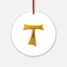 Golden Franciscan Tau Cross Ornament (Round)