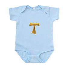 Golden Franciscan Tau Cross Infant Bodysuit