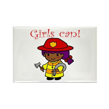 Girl Firefighter Rectangle Magnet (10 pack)