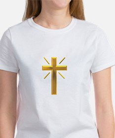 Golden Cross with Rays Tee