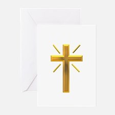 Golden Cross with Rays Greeting Cards (Pk of 20)