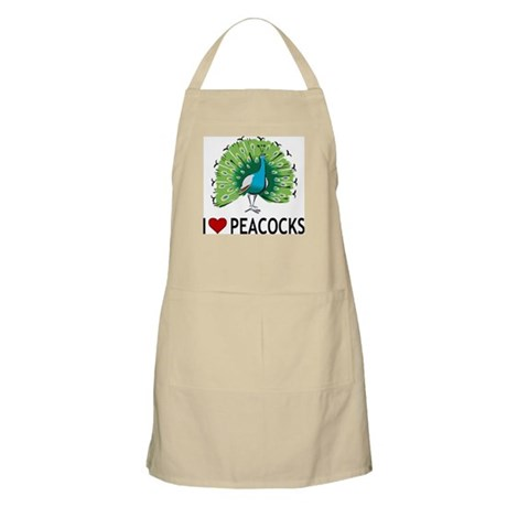 I Love Peacocks BBQ Apron