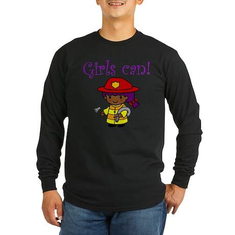 Girl Firefighter Long Sleeve Dark T-Shirt