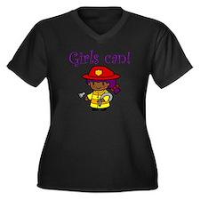 Girl Firefighter Women's Plus Size V-Neck Dark T-S
