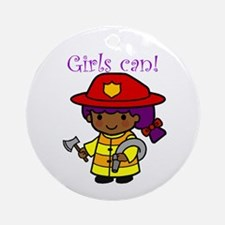 Girl Firefighter Ornament (Round)