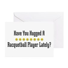 Hugged Racquetball Player Greeting Cards (Package