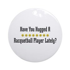 Hugged Racquetball Player Ornament (Round)