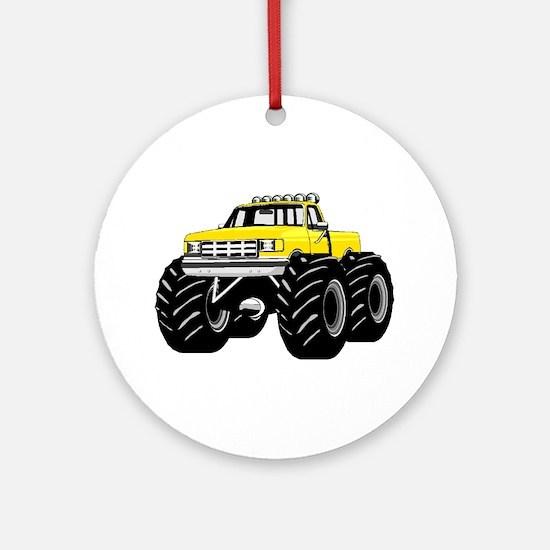 Yellow MONSTER Truck Ornament (Round)