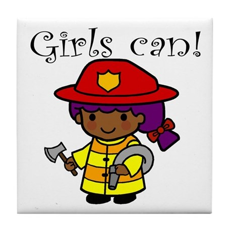 Girl Firefighter Tile Coaster
