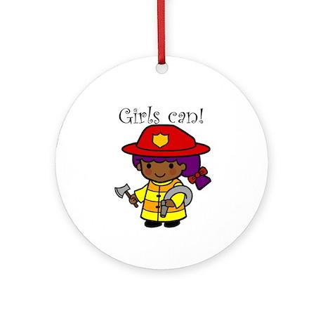 Girl Firefighter Ornament (Round)