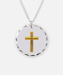Golden Cross 2 Necklace Circle Charm