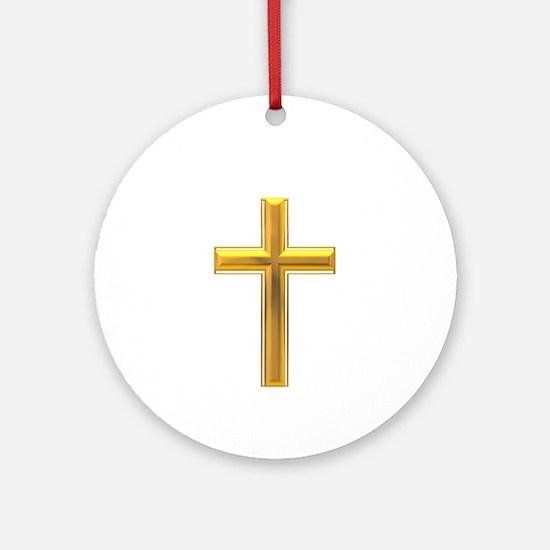 Golden Cross 2 Ornament (Round)