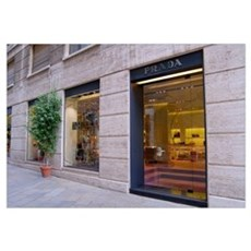 Italy, Milan, Prada storefront in Fashion District Framed Print