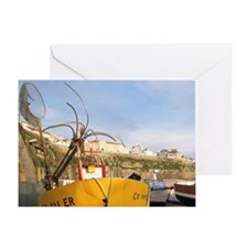 Ericeira. Fishing boats on cobblesto Greeting Card
