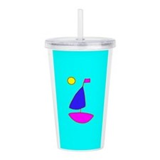 Turquoise Sailboat For Acrylic Double-Wall Tumbler