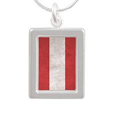 Austria Flag (Distressed Silver Portrait Necklace
