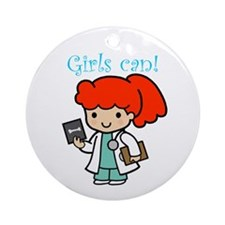 Girl Doctor Ornament (Round)