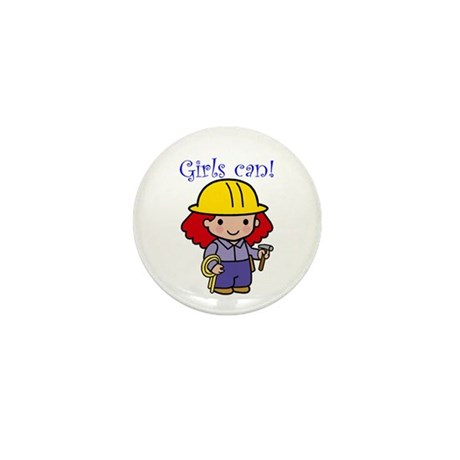 Girl Construction Worker Mini Button (10 pack)