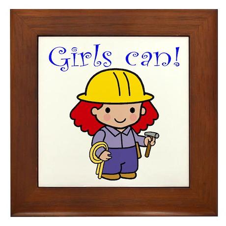 Girl Construction Worker Framed Tile
