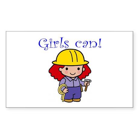 Girl Construction Worker Rectangle Sticker