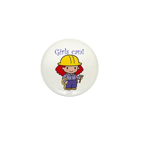 Girl Construction Worker Mini Button