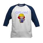Girl Construction Worker Kids Baseball Jersey