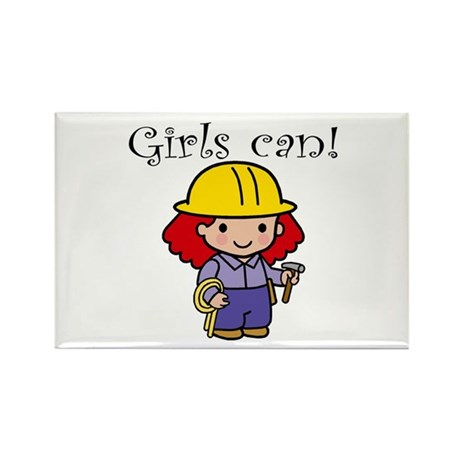 Girl Construction Worker Rectangle Magnet (10 pack