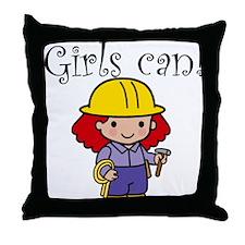 Girl Construction Worker Throw Pillow