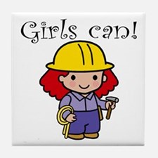 Girl Construction Worker Tile Coaster
