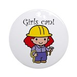 Girl Construction Worker Ornament (Round)