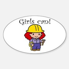 Girl Construction Worker Oval Decal