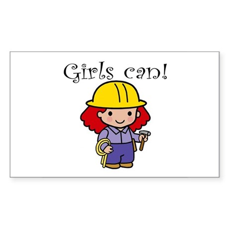 Girl Construction Worker Rectangle Sticker
