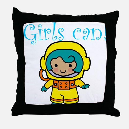Girl Astronaut Throw Pillow