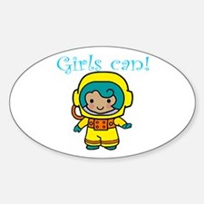 Girl Astronaut Oval Decal