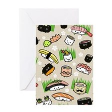 Sushi Characters Pattern Greeting Card