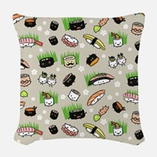 Sushi Characters Pattern Woven Throw Pillow