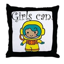 Girl Astronaut Throw Pillow