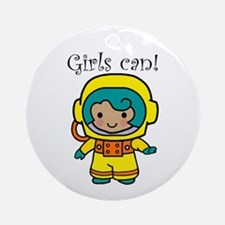 Girl Astronaut Ornament (Round)